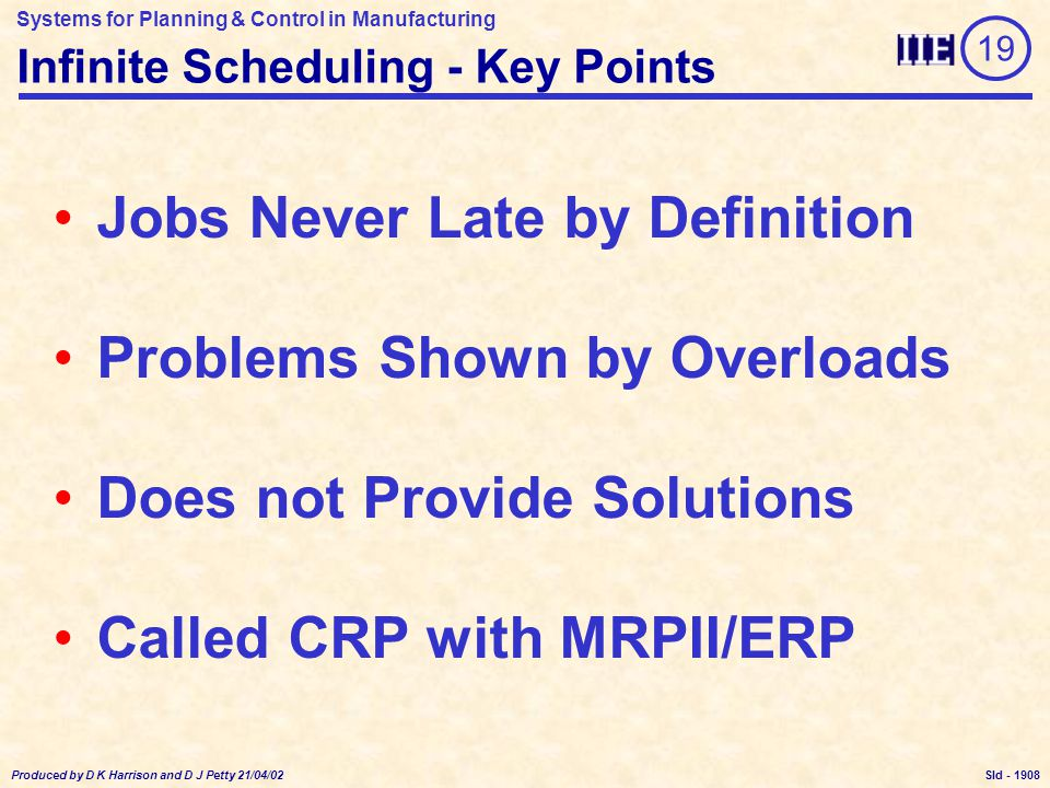 Systems for Planning & Control in Manufacturing Produced by D K Harrison and D J Petty 21/04/02 Sld - Infinite Scheduling - Key Points Jobs Never Late by Definition Problems Shown by Overloads Does not Provide Solutions Called CRP with MRPII/ERP 19 1908