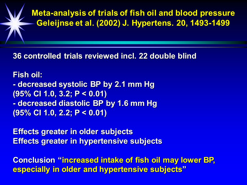 Meta-analysis of trials of fish oil and blood pressure Geleijnse et al. (2002) J. Hypertens. 20, 1493-1499 36 controlled trials reviewed incl. 22 doub