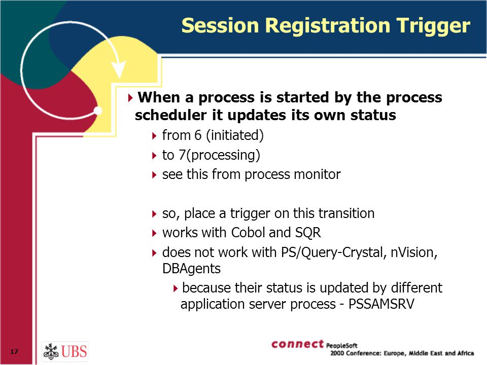 17 Session Registration Trigger  When a process is started by the process scheduler it updates its own status  from 6 (initiated)  to 7(processing)  see this from process monitor  so, place a trigger on this transition  works with Cobol and SQR  does not work with PS/Query-Crystal, nVision, DBAgents  because their status is updated by different application server process - PSSAMSRV