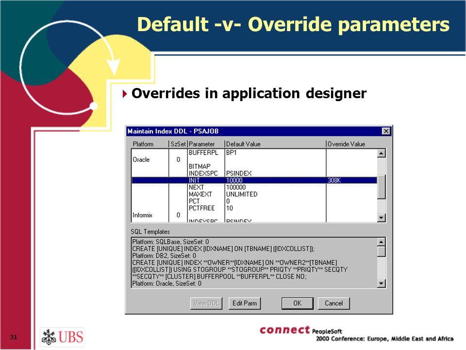 31 Default -v- Override parameters  Overrides in application designer