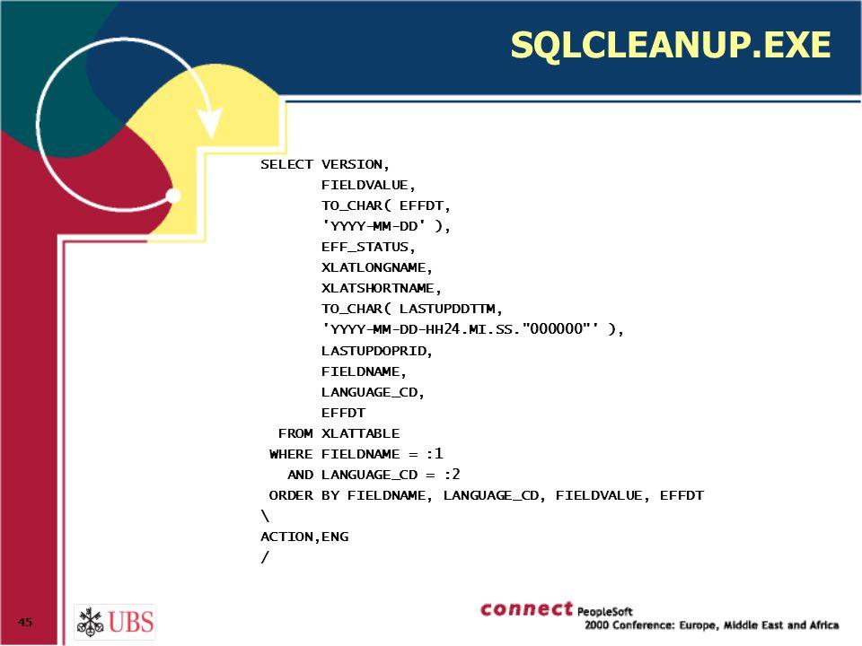 45 SQLCLEANUP.EXE SELECT VERSION, FIELDVALUE, TO_CHAR( EFFDT, YYYY-MM-DD ), EFF_STATUS, XLATLONGNAME, XLATSHORTNAME, TO_CHAR( LASTUPDDTTM, YYYY-MM-DD-HH24.MI.SS. 000000 ), LASTUPDOPRID, FIELDNAME, LANGUAGE_CD, EFFDT FROM XLATTABLE WHERE FIELDNAME = :1 AND LANGUAGE_CD = :2 ORDER BY FIELDNAME, LANGUAGE_CD, FIELDVALUE, EFFDT \ ACTION,ENG /