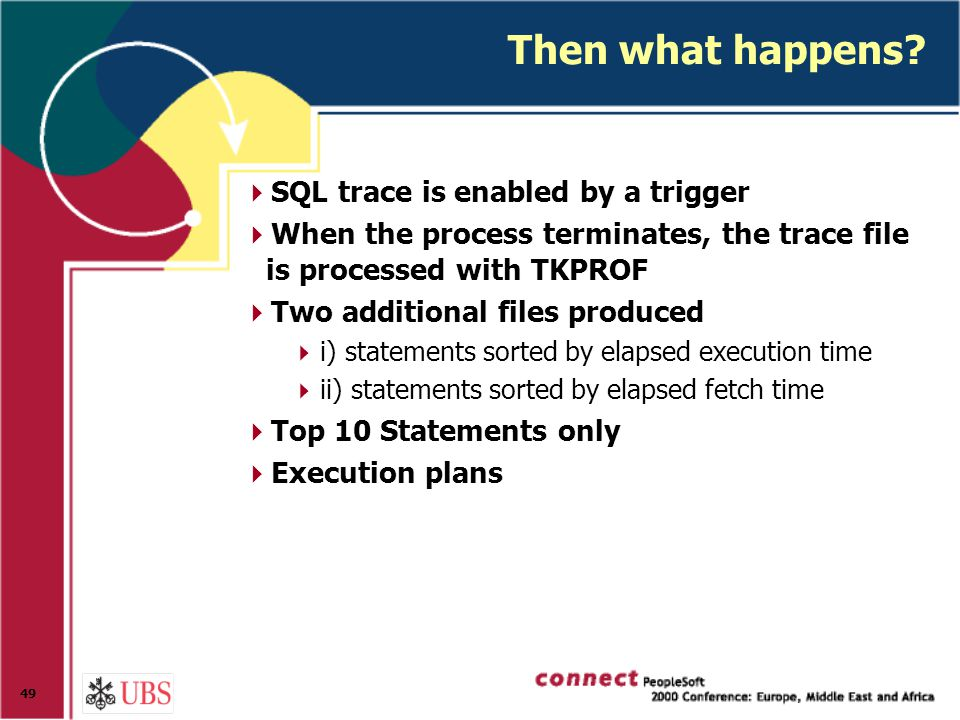 49 Then what happens?  SQL trace is enabled by a trigger  When the process terminates, the trace file is processed with TKPROF  Two additional file