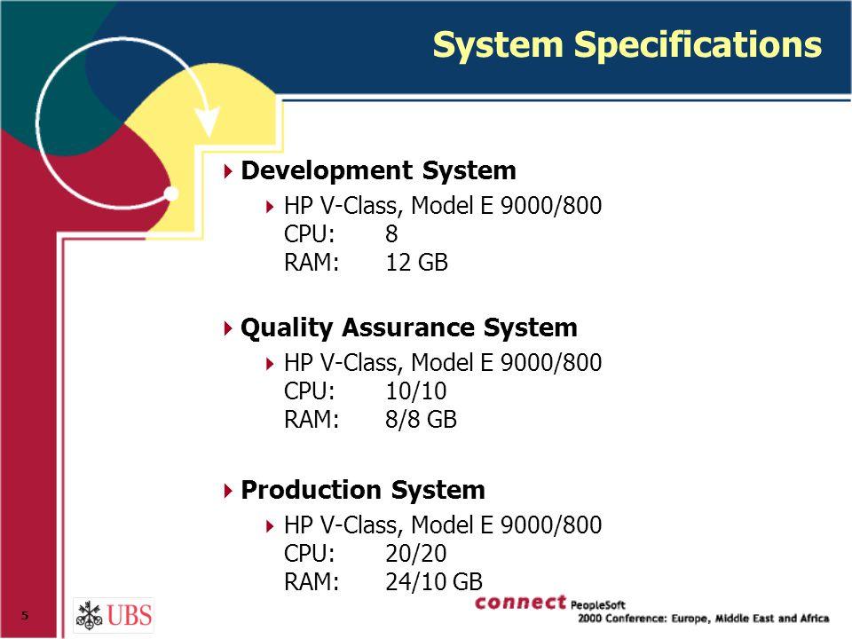 5 System Specifications  Development System  HP V-Class, Model E 9000/800 CPU:8 RAM:12 GB  Quality Assurance System  HP V-Class, Model E 9000/800 CPU:10/10 RAM:8/8 GB  Production System  HP V-Class, Model E 9000/800 CPU:20/20 RAM:24/10 GB