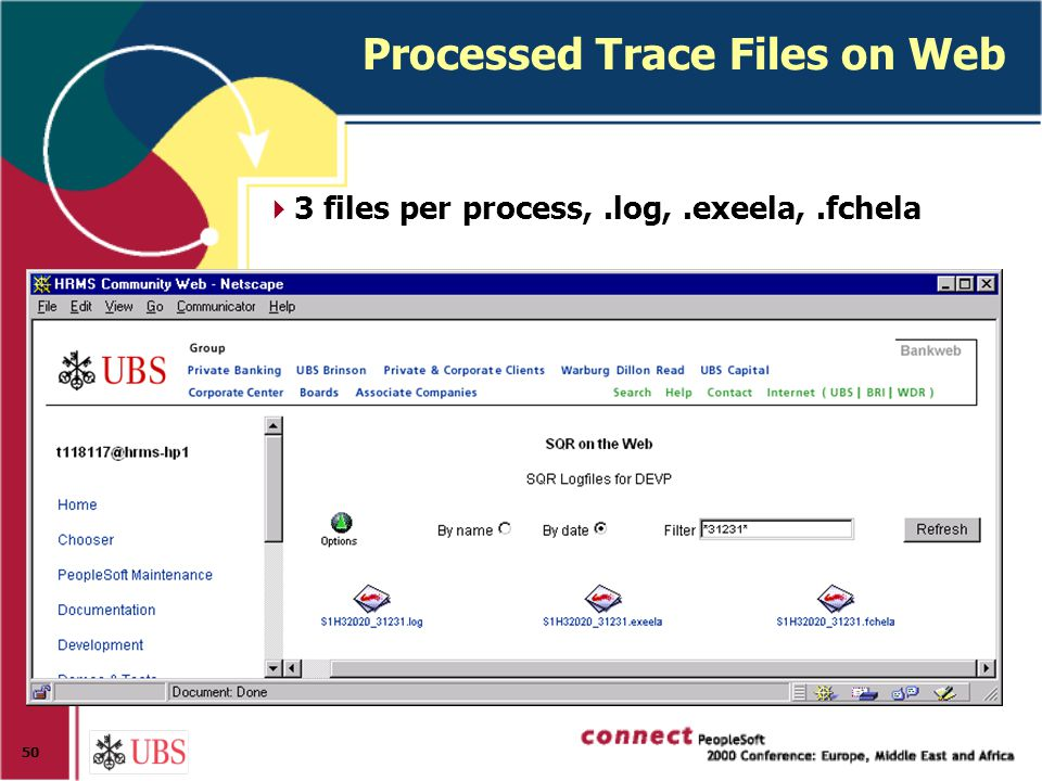 50 Processed Trace Files on Web  3 files per process,.log,.exeela,.fchela