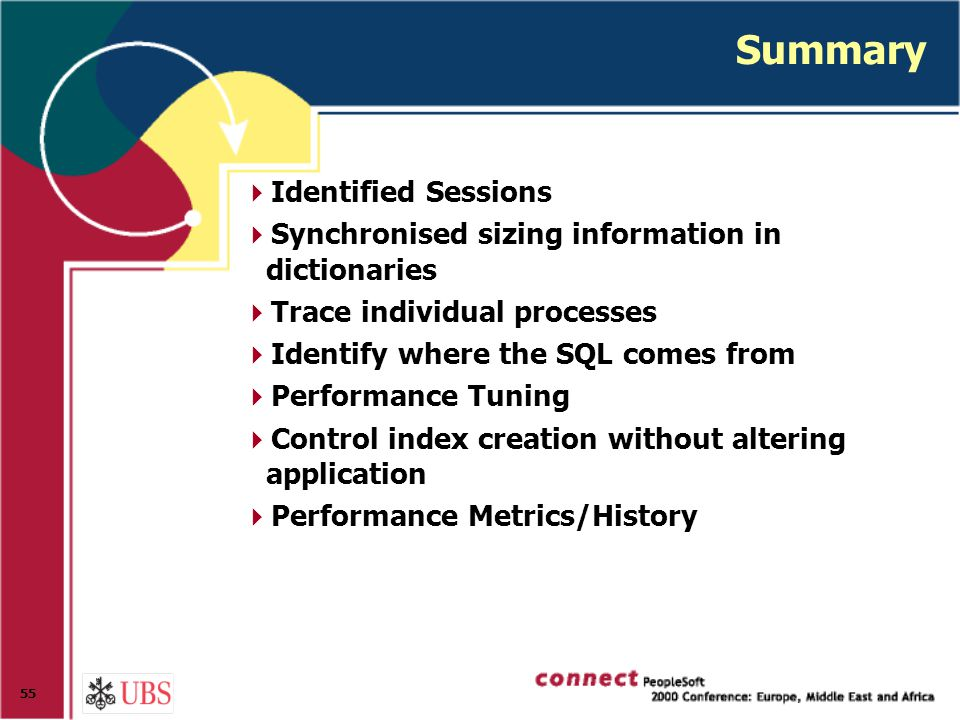 55 Summary  Identified Sessions  Synchronised sizing information in dictionaries  Trace individual processes  Identify where the SQL comes from  Performance Tuning  Control index creation without altering application  Performance Metrics/History