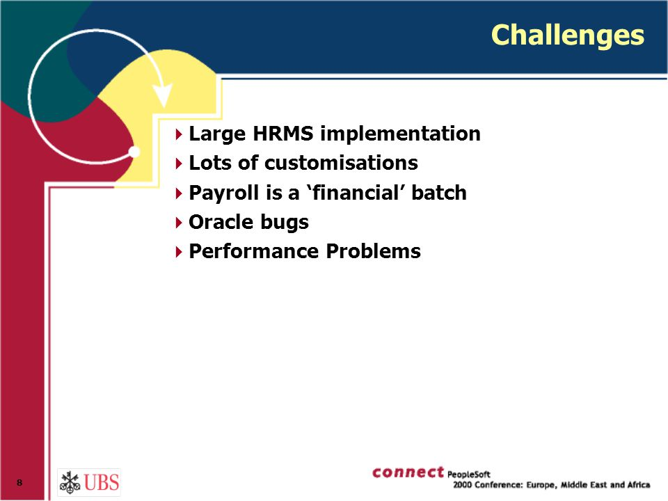 8 Challenges  Large HRMS implementation  Lots of customisations  Payroll is a 'financial' batch  Oracle bugs  Performance Problems