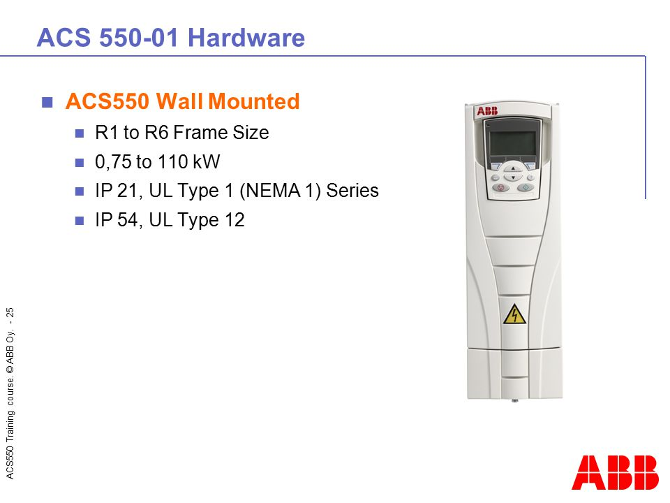 ACS550 Training course. © ABB Oy. - 25 ACS 550-01 Hardware ACS550 Wall Mounted R1 to R6 Frame Size 0,75 to 110 kW IP 21, UL Type 1 (NEMA 1) Series IP