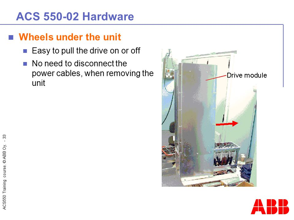 ACS550 Training course. © ABB Oy. - 33 ACS 550-02 Hardware Wheels under the unit Easy to pull the drive on or off No need to disconnect the power cabl