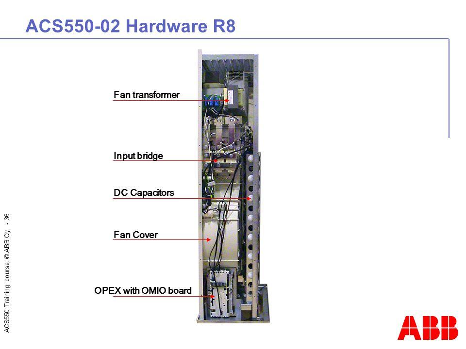 ACS550 Training course. © ABB Oy. - 36 ACS550-02 Hardware R8 OPEX with OMIO board Fan Cover Input bridge Fan transformer DC Capacitors