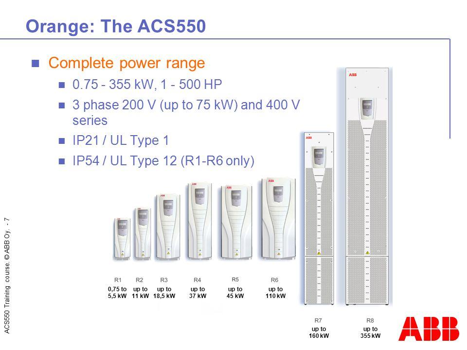 ACS550 Training course. © ABB Oy. - 7 Orange: The ACS550 0,75 to 5,5 kW up to 11 kW up to 18,5 kW up to 37 kW up to 45 kW up to 110 kW up to 160 kW up