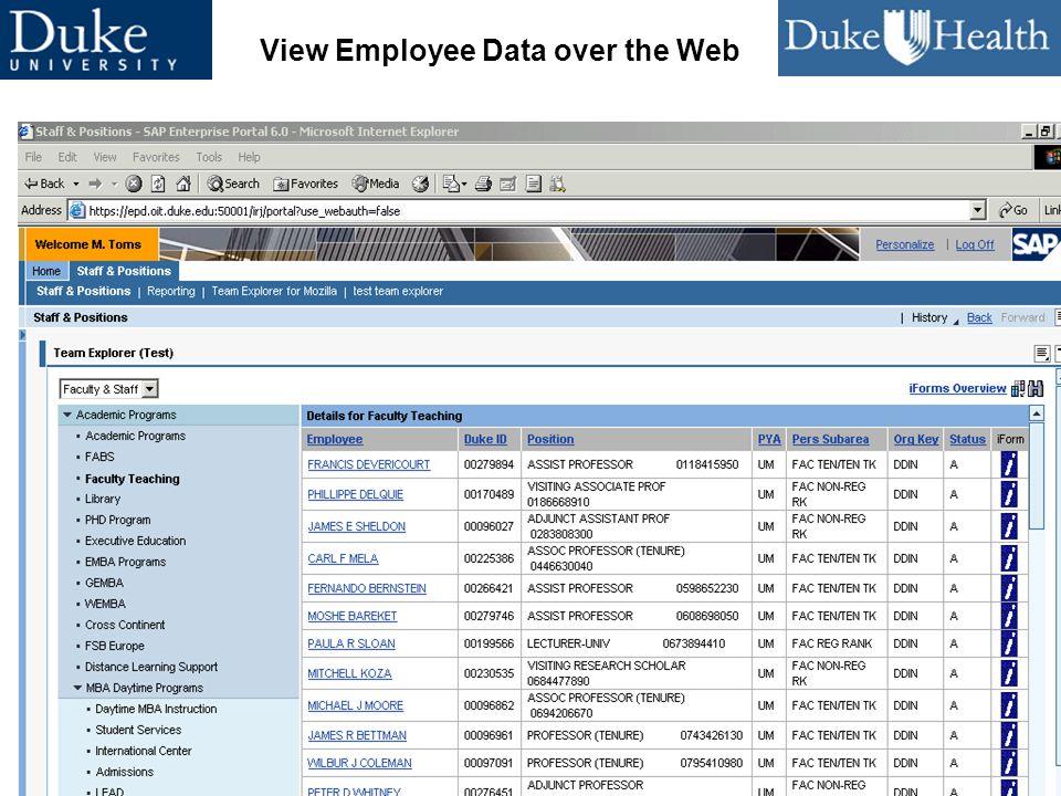 46 CUMREC 2005 Leveraging Enterprise Technologies View Employee Data over the Web