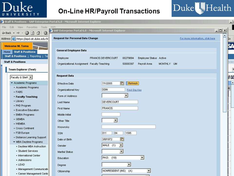 47 CUMREC 2005 Leveraging Enterprise Technologies On-Line HR/Payroll Transactions