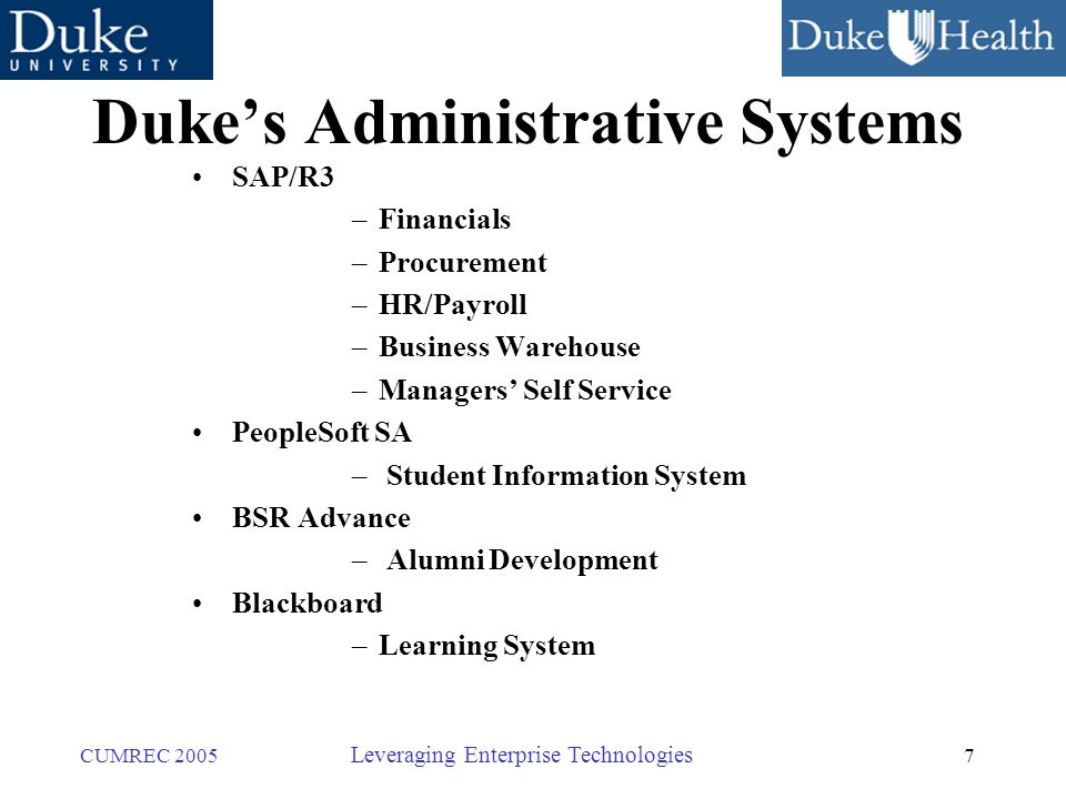 7 CUMREC 2005 Leveraging Enterprise Technologies Duke's Administrative Systems SAP/R3 –Financials –Procurement –HR/Payroll –Business Warehouse –Managers' Self Service PeopleSoft SA – Student Information System BSR Advance – Alumni Development Blackboard –Learning System