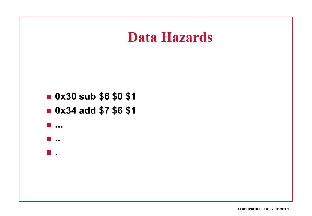 Datorteknik DataHazard bild 1 Data Hazards 0x30 sub $6 $0 $1 0x34 add $7 $6 $1......