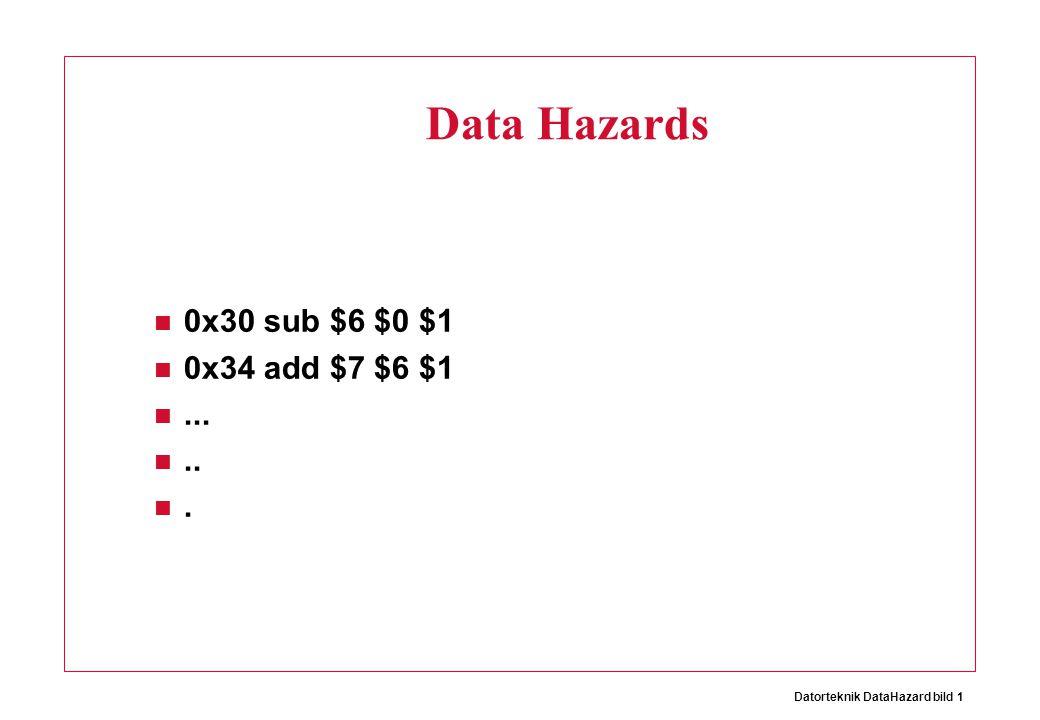 Datorteknik DataHazard bild 22 ALU A B 0 = = = = 0x30 sub $6 $0 $1 0x34 add $6 $6 $1 > 0x38 add $7 $6 $1.....