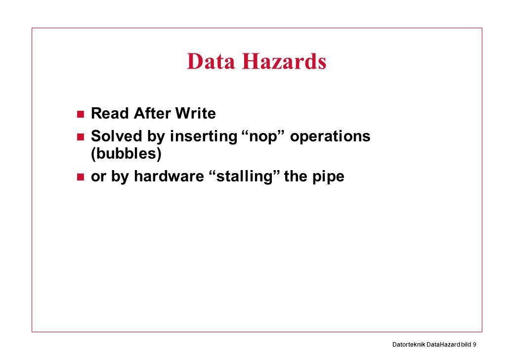 Datorteknik DataHazard bild 10 Cost? + Hardware inexpensive - Performance (throughput)