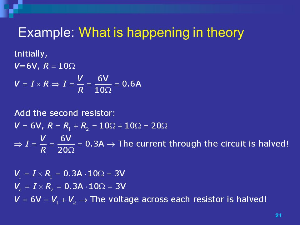 21 Example: What is happening in theory