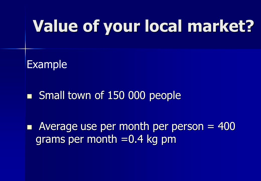 Value of your local market.