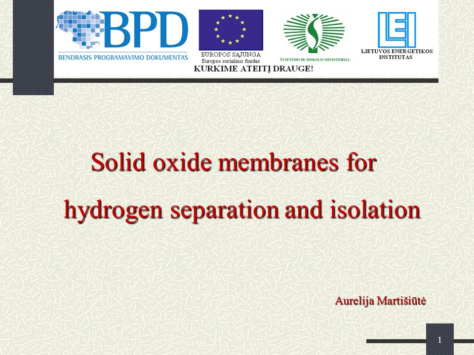 2 Membrane permeation mechanisms; Review of different types conductivity; Experimental data; Results (XRD, SEM,Water permeability test); Conclusion.
