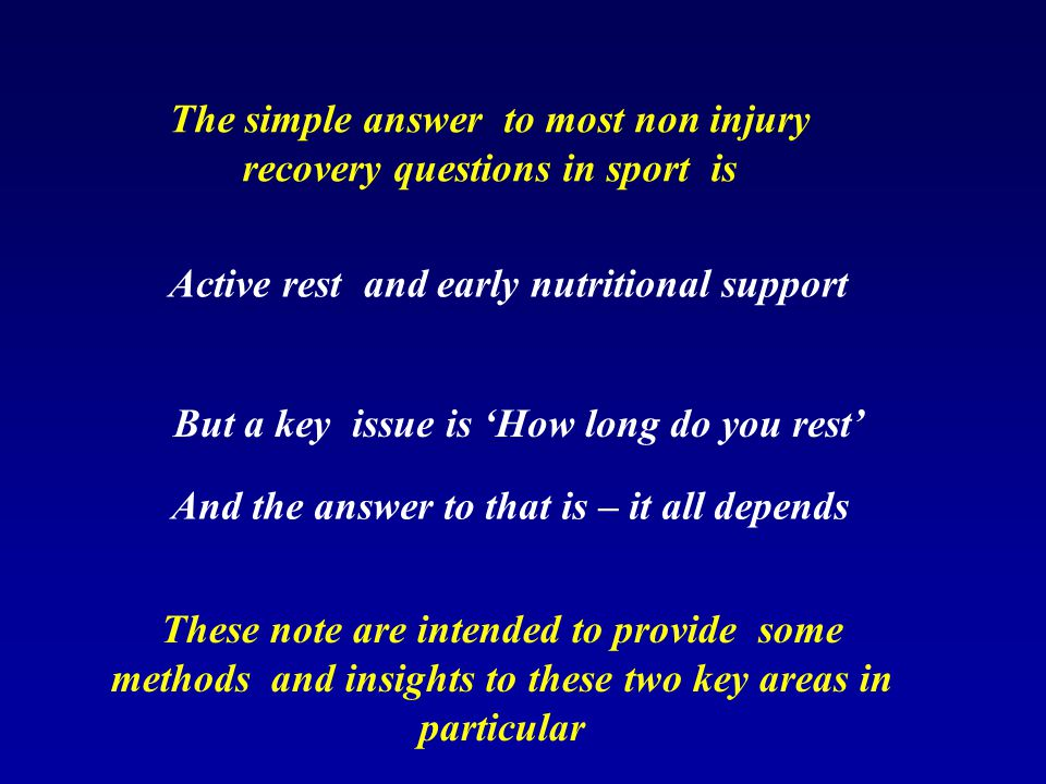 Why is recovery important Full Performance capability is restored ONLY when fully recovered.