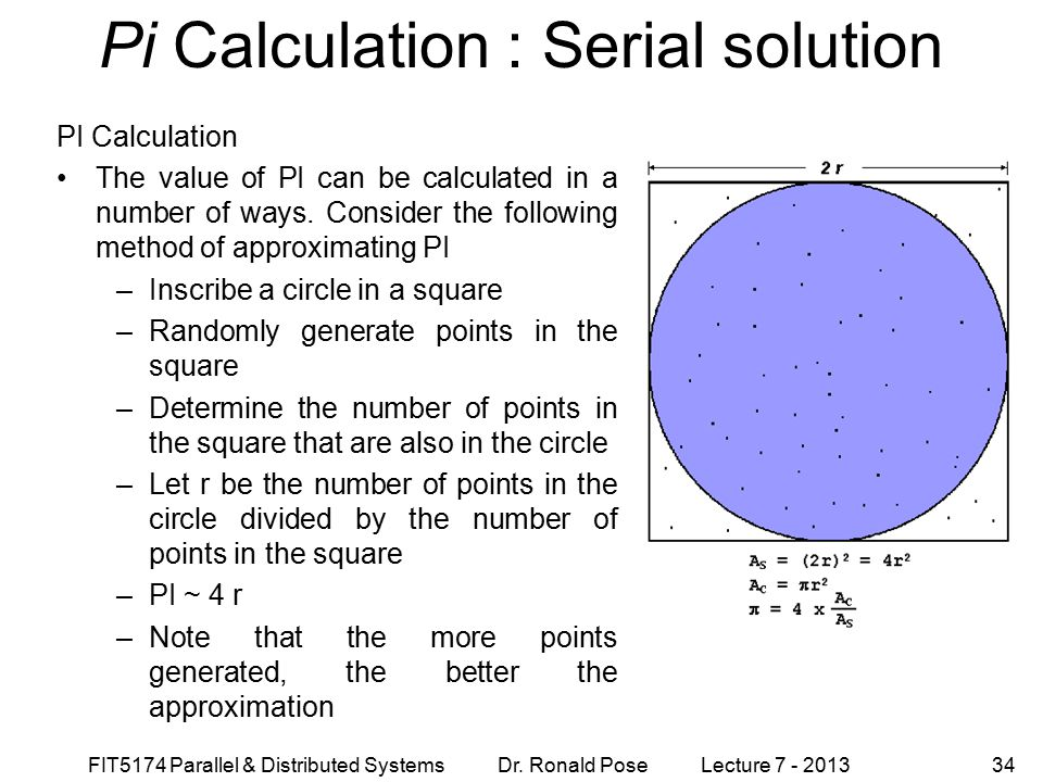 FIT5174 Parallel & Distributed Systems Dr. Ronald Pose Lecture 7 - 201334 Pi Calculation : Serial solution PI Calculation The value of PI can be calcu