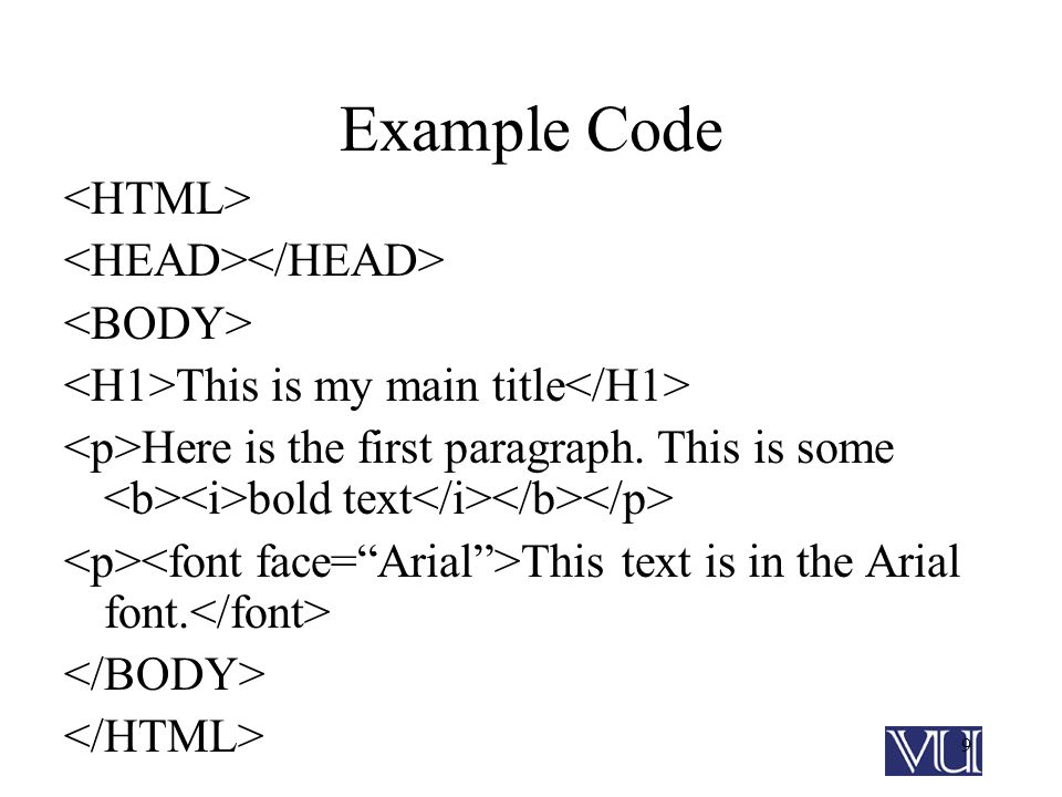 9 Example Code This is my main title Here is the first paragraph.