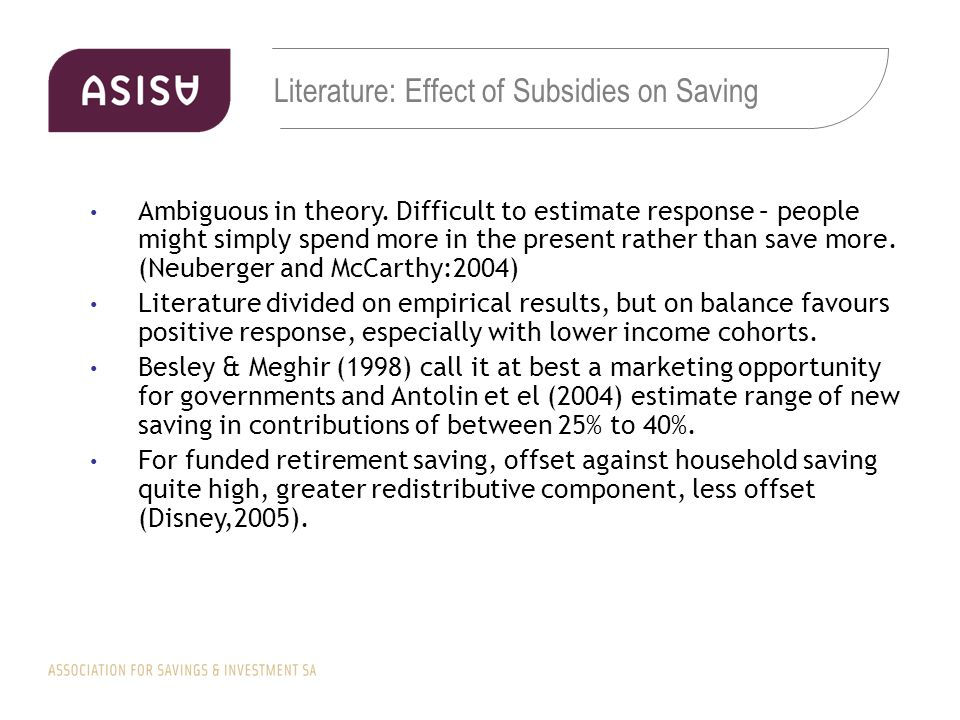 Literature: Effect of Subsidies on Saving Ambiguous in theory.