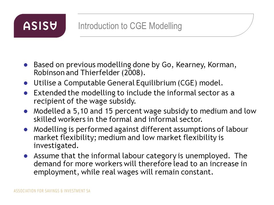 Introduction to CGE Modelling Based on previous modelling done by Go, Kearney, Korman, Robinson and Thierfelder (2008).