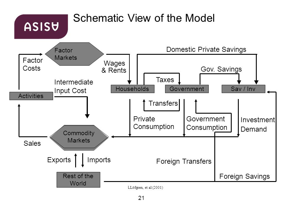 21 Schematic View of the Model Activities Factor Costs Wages & Rents Intermediate Input Cost Sales Private Consumption Taxes Domestic Private Savings Government Consumption Gov.