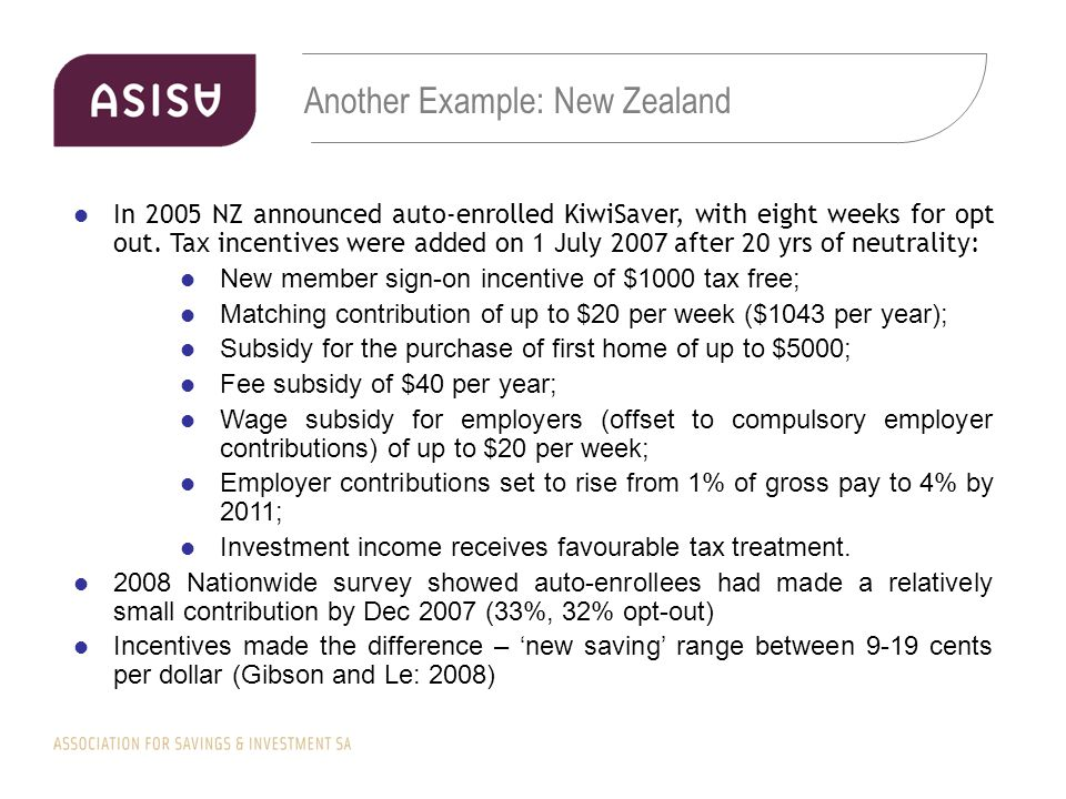 Another Example: New Zealand In 2005 NZ announced auto-enrolled KiwiSaver, with eight weeks for opt out.