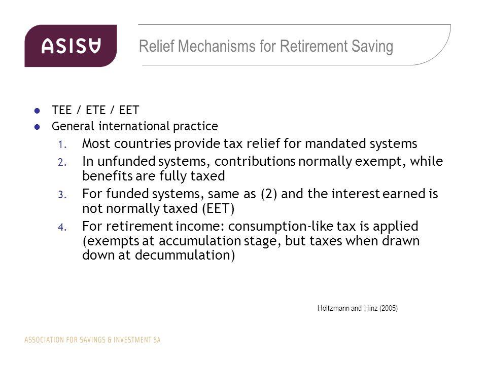 Relief Mechanisms for Retirement Saving TEE / ETE / EET General international practice 1.