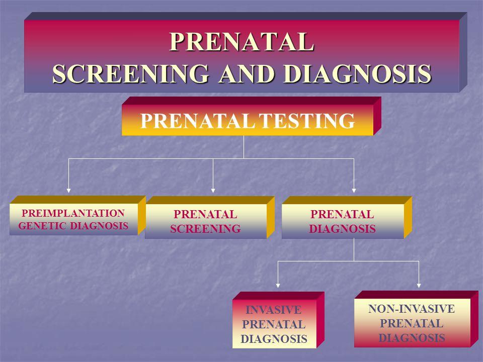 PRENATAL SCREENING AND DIAGNOSIS PRENATAL TESTING PRENATAL SCREENING PRENATAL DIAGNOSIS INVASIVE PRENATAL DIAGNOSIS NON-INVASIVE PRENATAL DIAGNOSIS PR