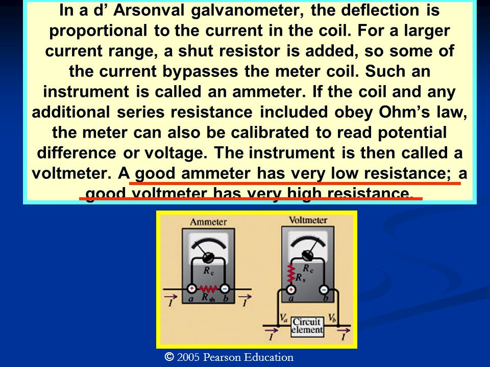 In a d' Arsonval galvanometer, the deflection is proportional to the current in the coil.