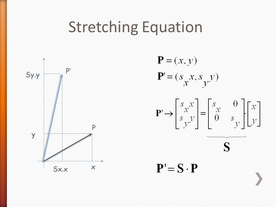 Stretching Equation P x y Sx.x P'P'P'P' Sy.y