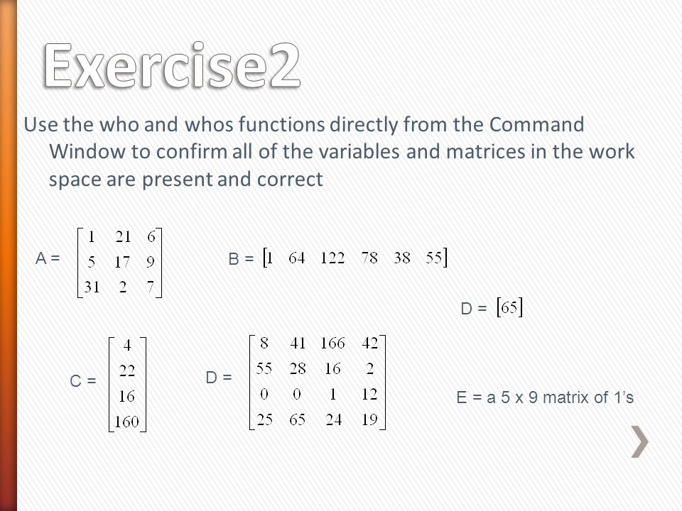 Use the who and whos functions directly from the Command Window to confirm all of the variables and matrices in the work space are present and correct A = B = C = D = E = a 5 x 9 matrix of 1's