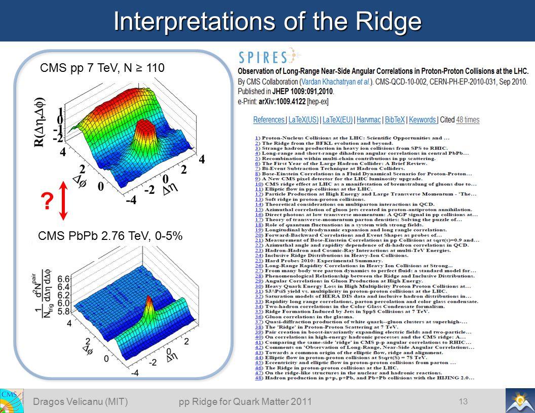 Interpretations of the Ridge 13 CMS pp 7 TeV, N ≥ 110 .