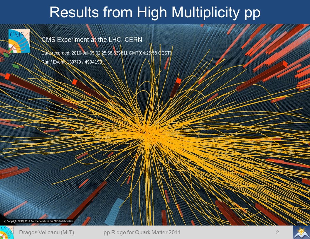 Results from High Multiplicity pp 2 Dragos Velicanu (MIT) pp Ridge for Quark Matter 2011