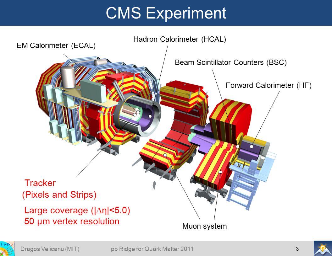 CMS Experiment 3 Tracker (Pixels and Strips) EM Calorimeter (ECAL) Hadron Calorimeter (HCAL) Muon system Forward Calorimeter (HF) Beam Scintillator Counters (BSC) Large coverage (|  η|<5.0) 50 μm vertex resolution Dragos Velicanu (MIT) pp Ridge for Quark Matter 2011