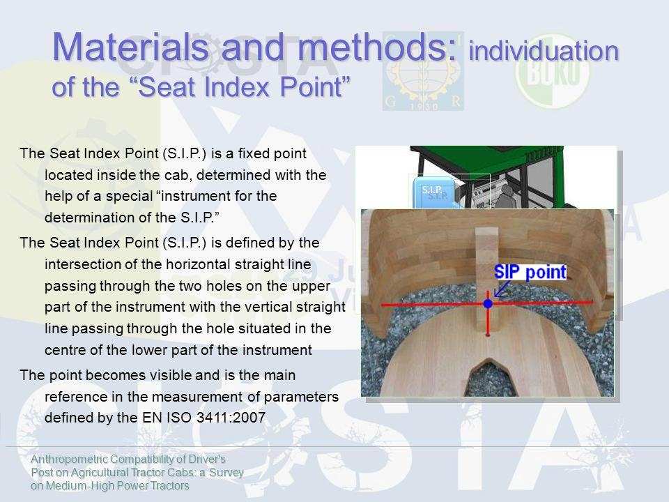 The Seat Index Point (S.I.P.) is a fixed point located inside the cab, determined with the help of a special instrument for the determination of the S.I.P. The Seat Index Point (S.I.P.) is defined by the intersection of the horizontal straight line passing through the two holes on the upper part of the instrument with the vertical straight line passing through the hole situated in the centre of the lower part of the instrument The point becomes visible and is the main reference in the measurement of parameters defined by the EN ISO 3411:2007 Materials and methods: individuation of the Seat Index Point S.I.P.S.I.P.