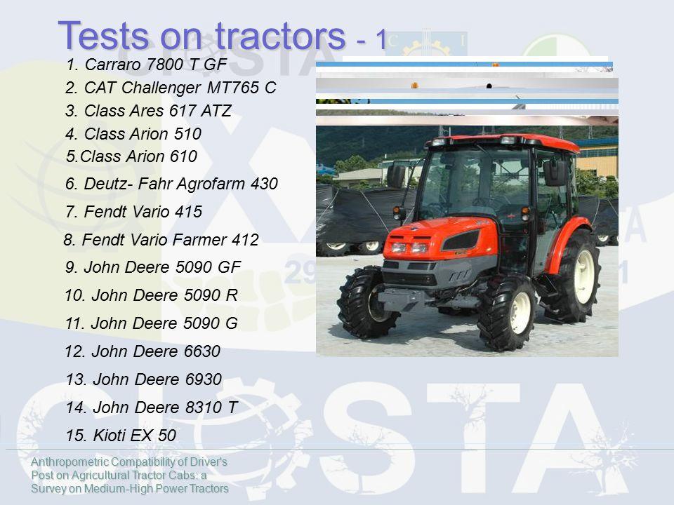 Tests on tractors - 1 1. Carraro 7800 T GF 2. CAT Challenger MT765 C 3. Class Ares 617 ATZ 4. Class Arion 510 5.Class Arion 610 6. Deutz- Fahr Agrofar
