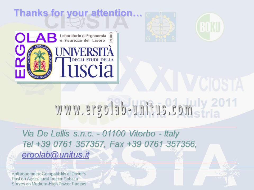 Via De Lellis s.n.c. - 01100 Viterbo - Italy Tel +39 0761 357357, Fax +39 0761 357356, ergolab@unitus.it Thanks for your attention… Anthropometric Com