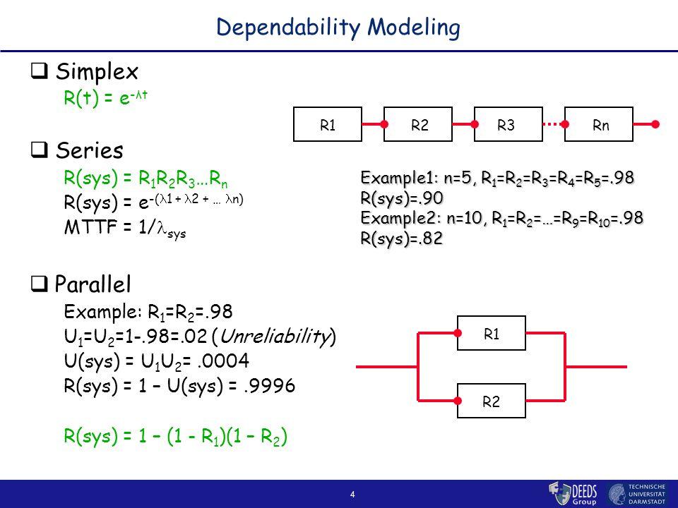 4 Dependability Modeling  Simplex R(t) = e -λt  Series R(sys) = R 1 R 2 R 3 …R n R(sys) = e -( 1 + 2 + … n) MTTF = 1/ sys  Parallel Example: R 1 =R 2 =.98 U 1 =U 2 =1-.98=.02 (Unreliability) U(sys) = U 1 U 2 =.0004 R(sys) = 1 – U(sys) =.9996 R(sys) = 1 – (1 - R 1 )(1 – R 2 ) R1R2R3Rn R1 R2 Example1: n=5, R 1 =R 2 =R 3 =R 4 =R 5 =.98 R(sys)=.90 Example2: n=10, R 1 =R 2 =…=R 9 =R 10 =.98 R(sys)=.82