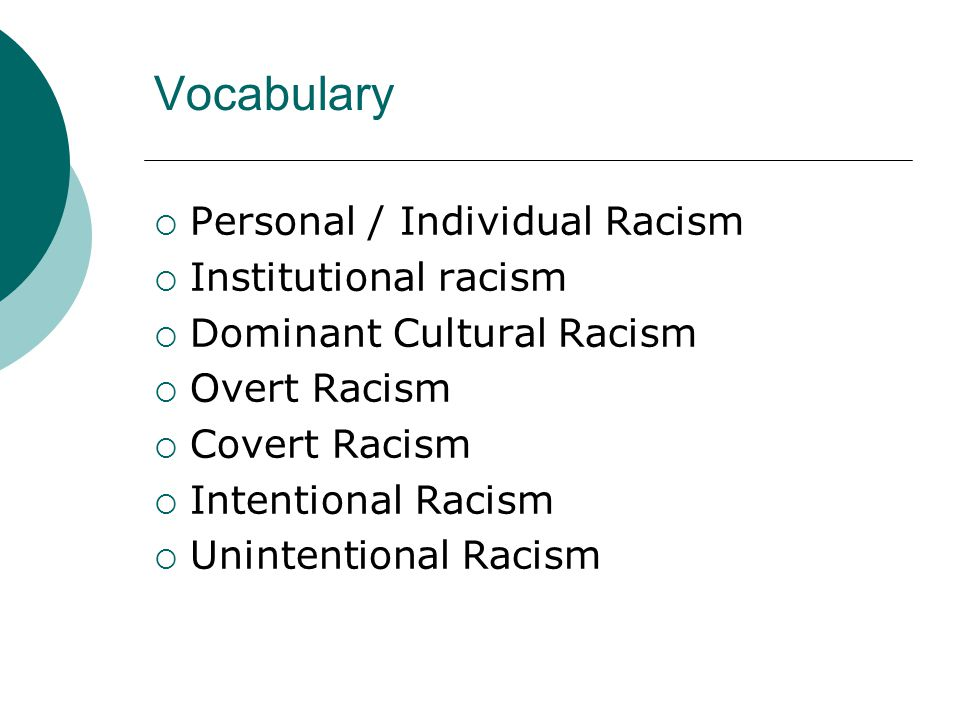 Vocabulary  Personal / Individual Racism  Institutional racism  Dominant Cultural Racism  Overt Racism  Covert Racism  Intentional Racism  Unintentional Racism