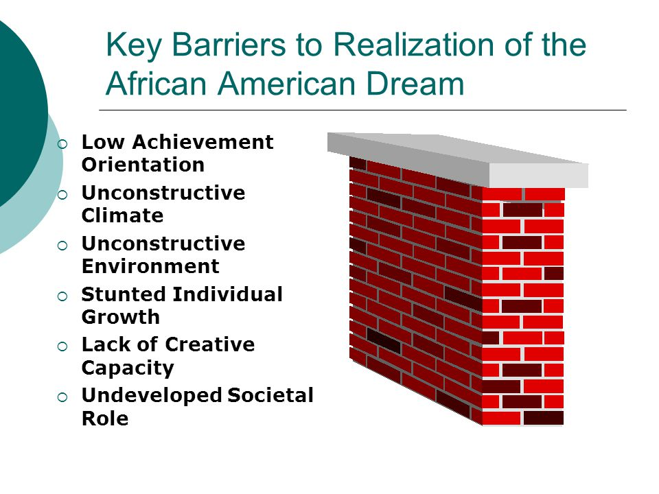 Key Barriers to Realization of the African American Dream  Low Achievement Orientation  Unconstructive Climate  Unconstructive Environment  Stunted Individual Growth  Lack of Creative Capacity  Undeveloped Societal Role