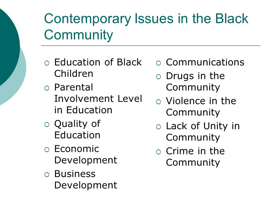 Contemporary Issues in the Black Community  Education of Black Children  Parental Involvement Level in Education  Quality of Education  Economic D