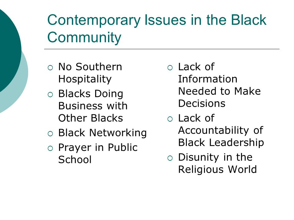 Contemporary Issues in the Black Community  No Southern Hospitality  Blacks Doing Business with Other Blacks  Black Networking  Prayer in Public S