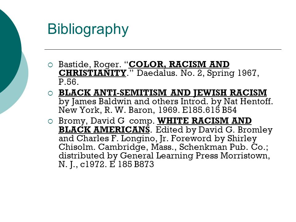 "Bibliography  Bastide, Roger. ""COLOR, RACISM AND CHRISTIANITY."" Daedalus. No. 2, Spring 1967, P.56.  BLACK ANTI-SEMITISM AND JEWISH RACISM by James"