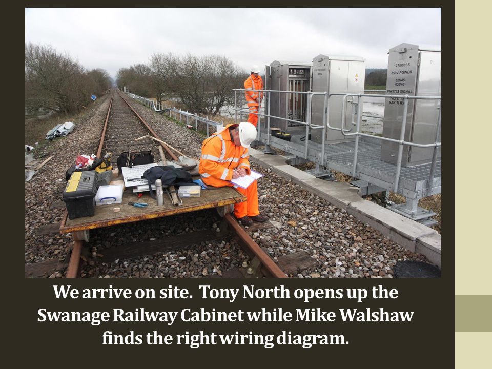 We arrive on site. Tony North opens up the Swanage Railway Cabinet while Mike Walshaw finds the right wiring diagram.