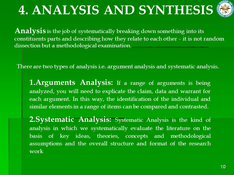 10 4. ANALYSIS AND SYNTHESIS Analysis is the job of systematically breaking down something into its constituents parts and describing how they relate