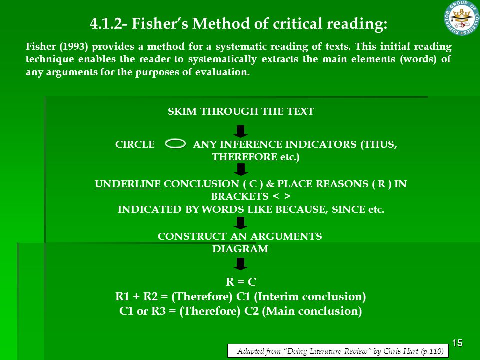 15 4.1.2- Fisher's Method of critical reading: Fisher (1993) provides a method for a systematic reading of texts. This initial reading technique enabl